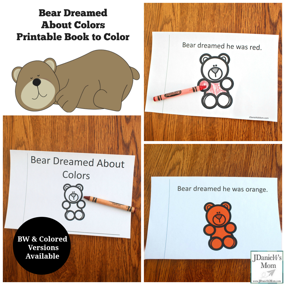 Bear Dream About Colors Printable Book - This printable was created to explore after reading the book Bear Snores On.