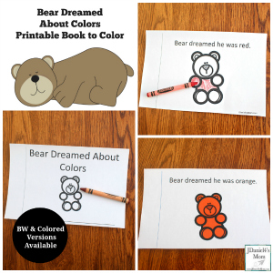 Bear Dreamed About Colors Printable Book to Color