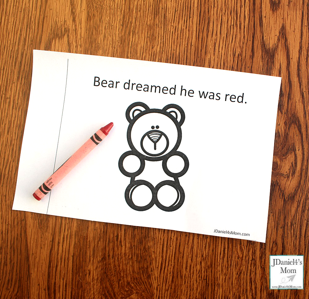 Bear Dream About Colors Printable Book - This printable was created to explore after reading the book Bear Snores On. Children at school or students at school will enjoy this book to color. There is a you color version and a bear is already colored version.