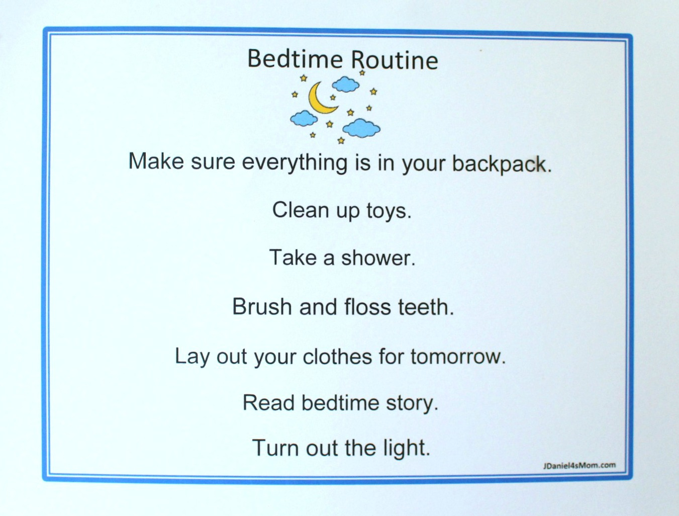Back to School Printables - Back to School Editable Bedtime Chore Chart