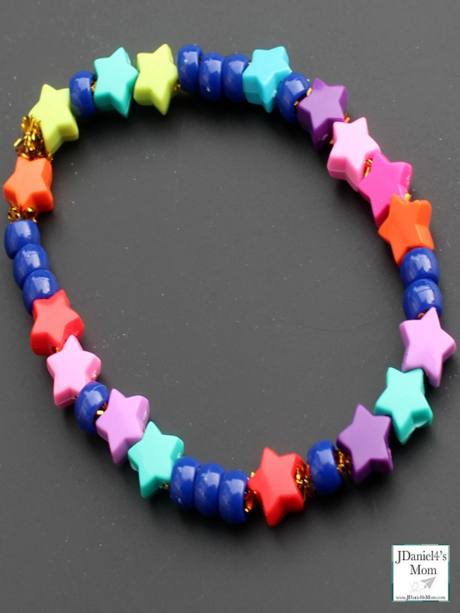 Binary Code Bracelet That is Out of This World STEM Activity -Beads on the free planning and reflection printable. This is what the finished bracelet look like upclose.