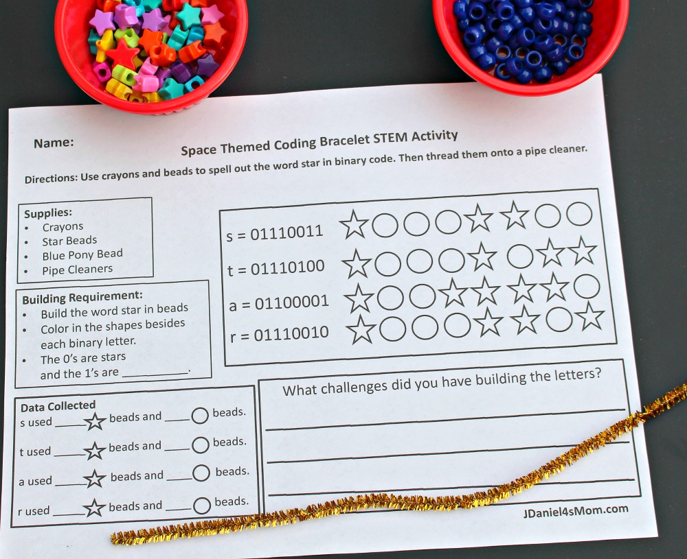 Binary Code Bracelet That is Out of This World STEM Activity -Supplies