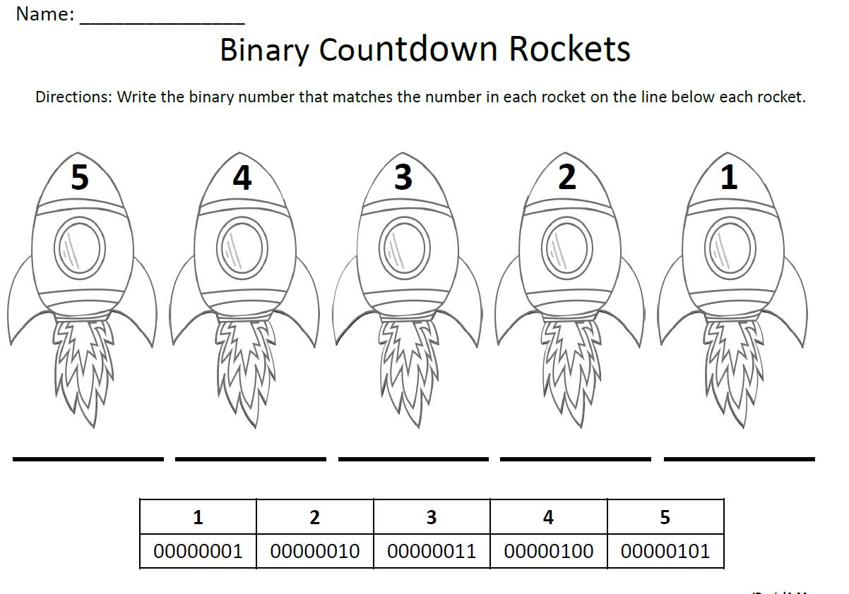 Binary Number Countdown Rockets Jdaniel4s Mom
