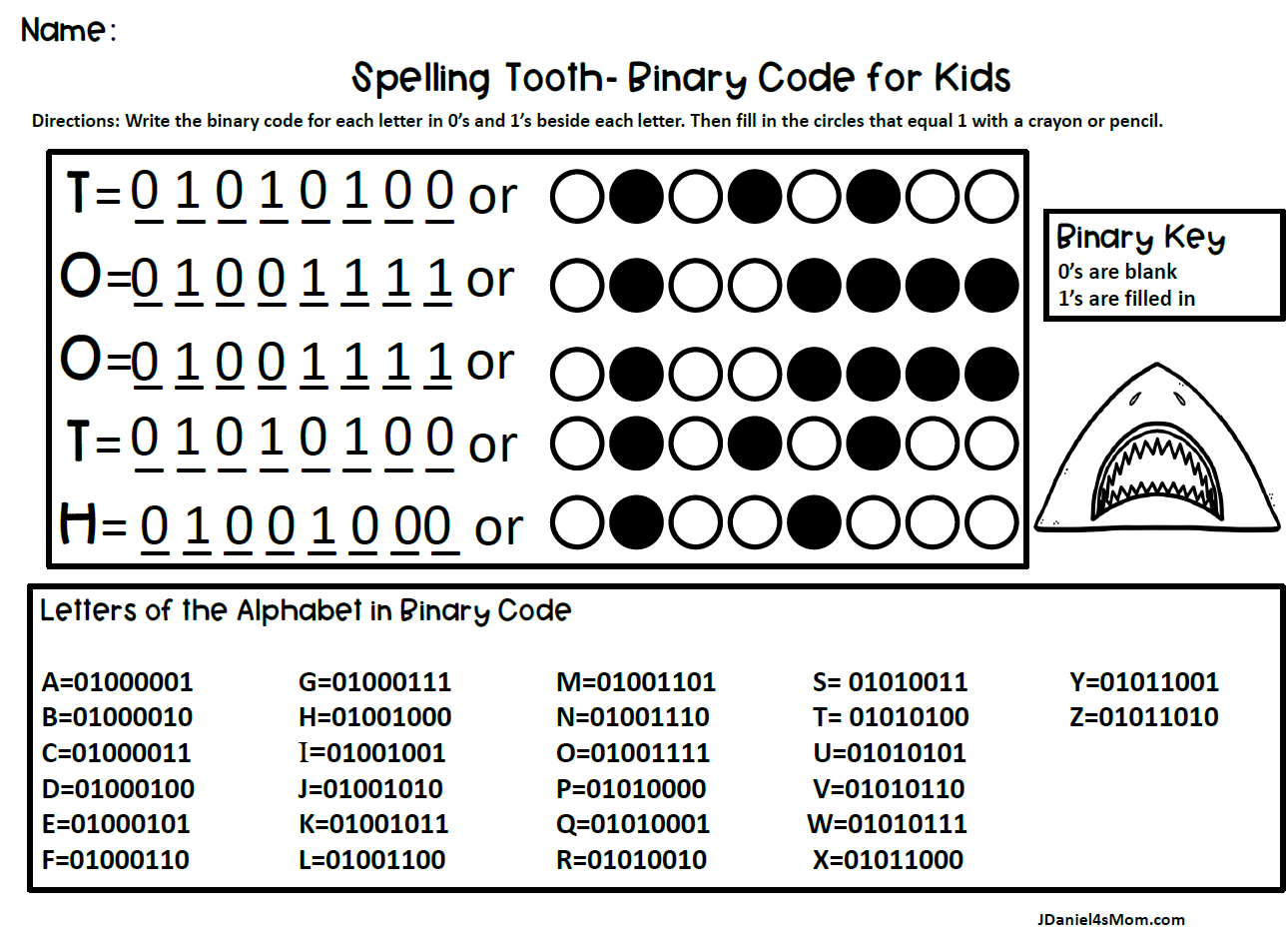 Binary Code for Kids- Spelling Shark Words (Tooth)