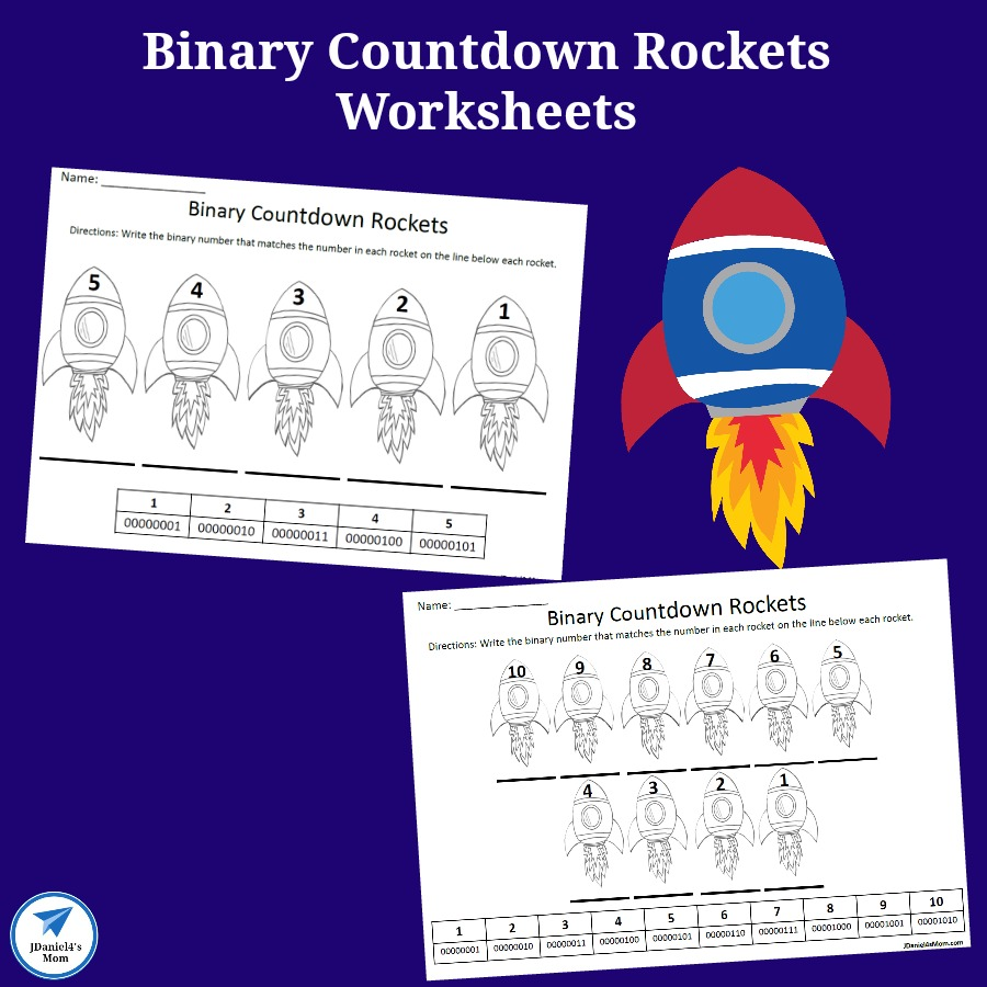 Binary Number Countdown Rockets Worksheet