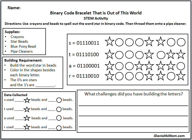 Binary Code Bracelet That is Out of This World - The activity has a printable planning and reflection page. It is a great way to introduce your children to coding and work on fine motor skills. Here is the binary code printable.
