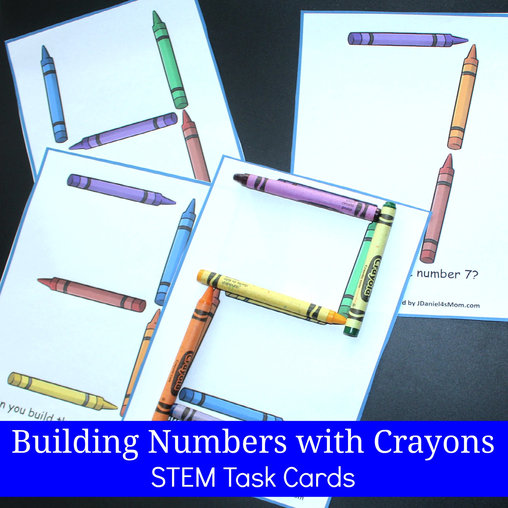 Building Numbers with Crayons STEM Task Cards