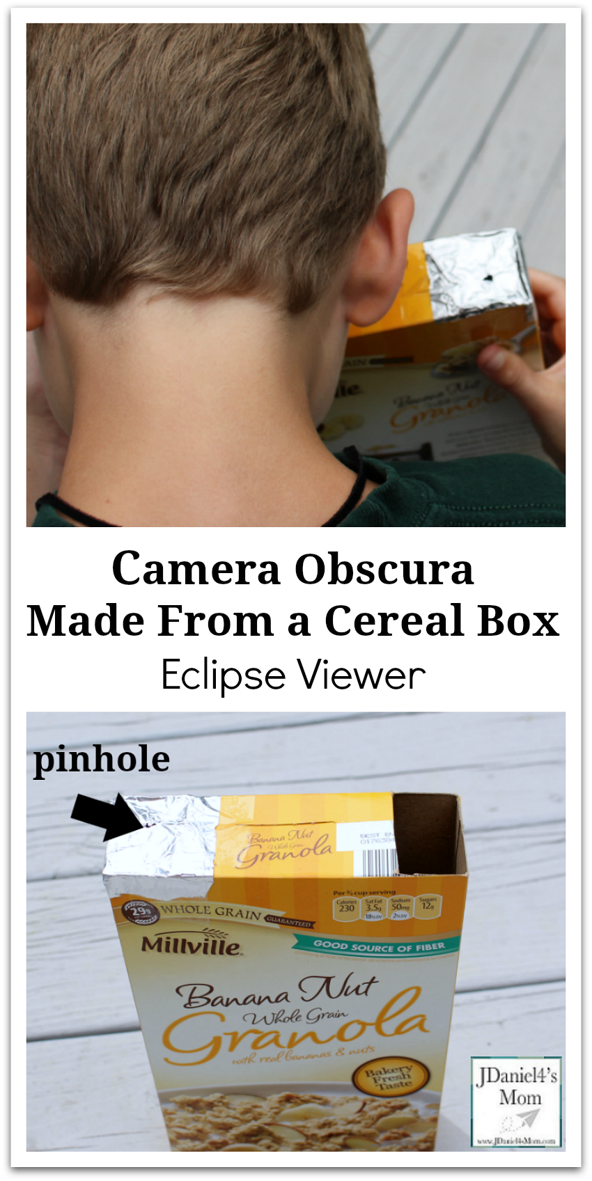 Camera Obscura Made From a Cereal Box - This eclipse viewer is easy to put together. It would be a wonderful STEM experiment for your students at school or your children at home.