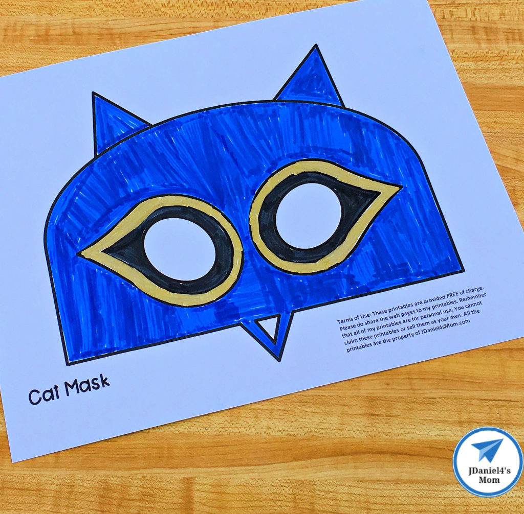 Free Printable Cat Mask Based on Pete the Cat Colored