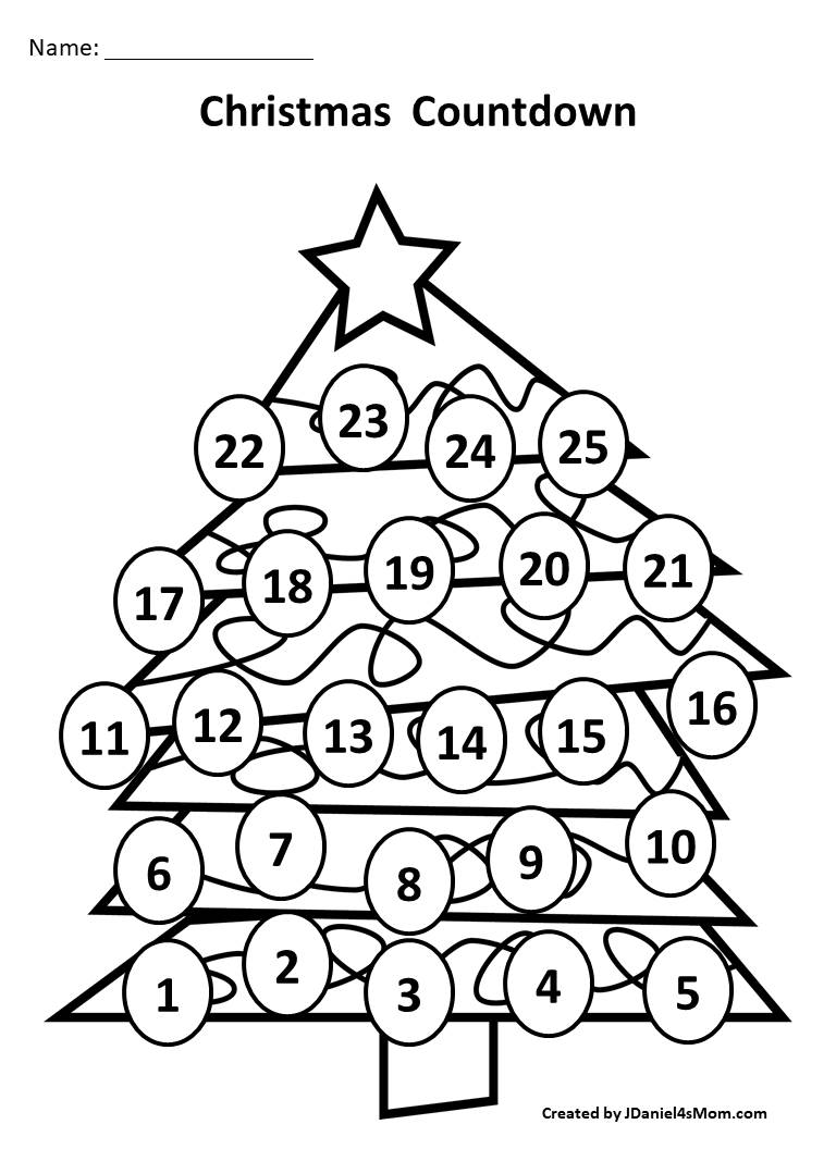 Christmas Countdown Calendar and Activity Set - BW Tree