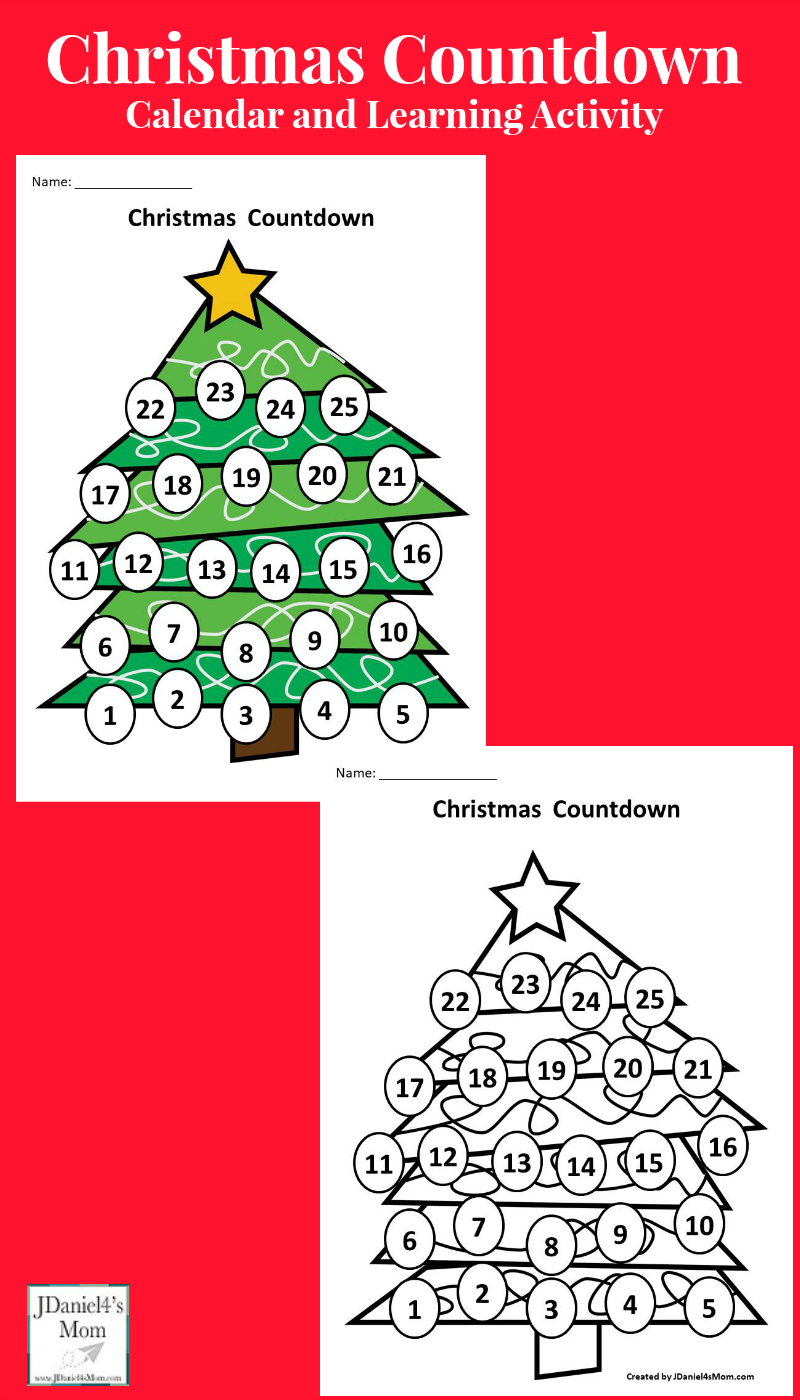 Calendar Activities Printables : Christmas countdown calendar and learning activity
