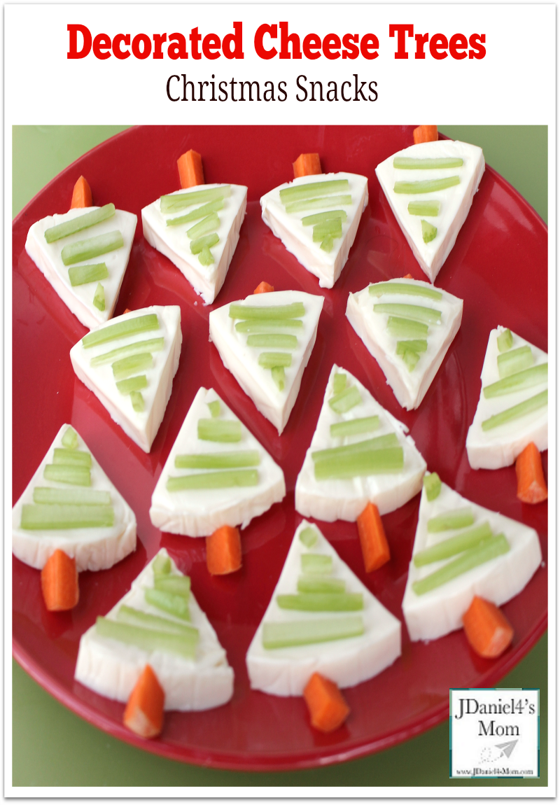 Christmas Snacks- Decorated Cheese Trees : This snack is fun to make with kids. This healthy snack is fun to serve at holiday parties or as an afternoon snack.
