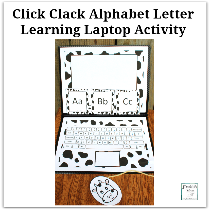 Click Clack Alphabet Learning Laptop Activity - This activity was created to go along with the book Click, Clack, Moo Cows That Type. It includes a monitor, keyboard, mouse, and alphabet letter cards.
