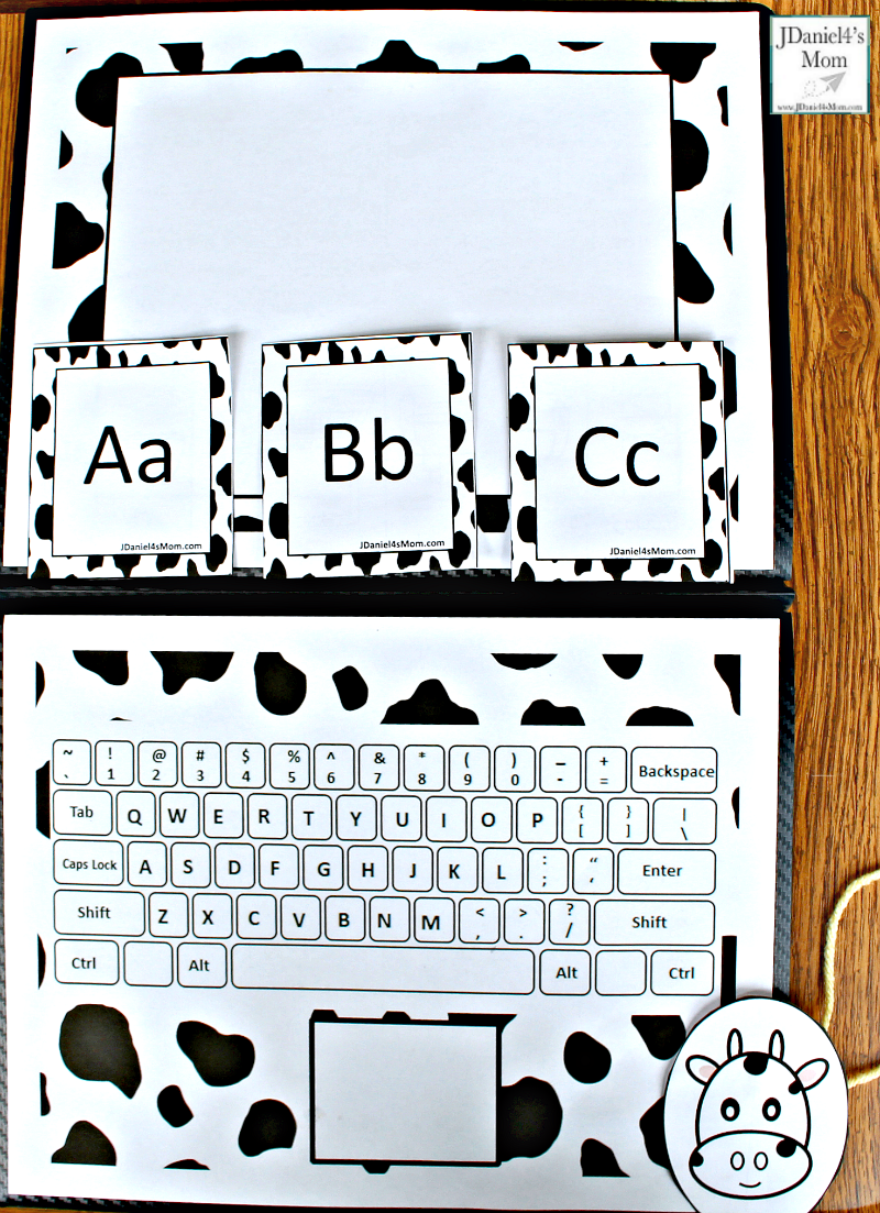 Click Clack Alphabet Learning Laptop Activity - This activity was created to go along with the book Click, Clack, Moo Cows That Type. It includes a monitor, keyboard, mouse, and alphabet letter cards. This is a fun way to work on letter recognition and where things are on the keyboard.