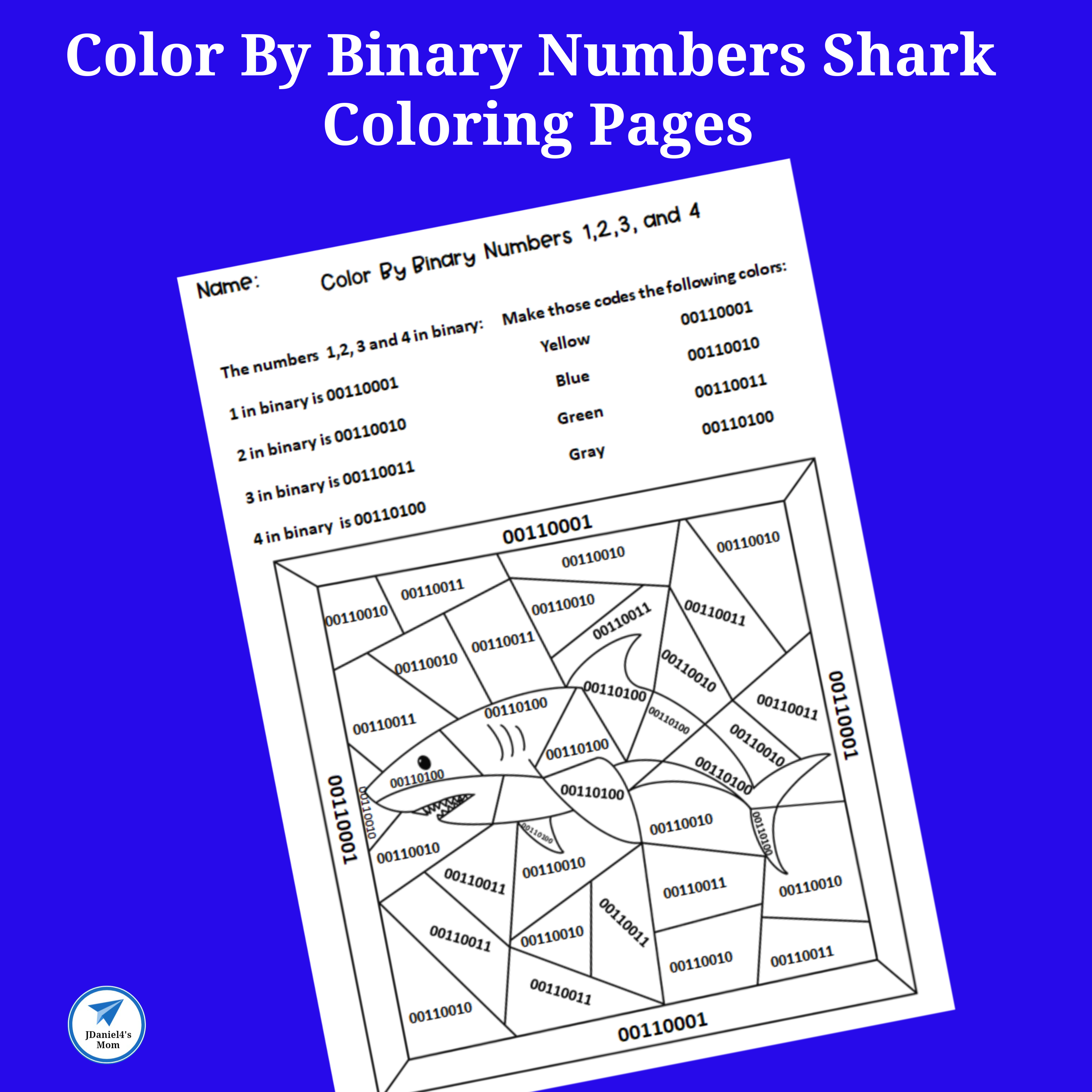 Color By Binary Numbers Shark Coloring Pages Square