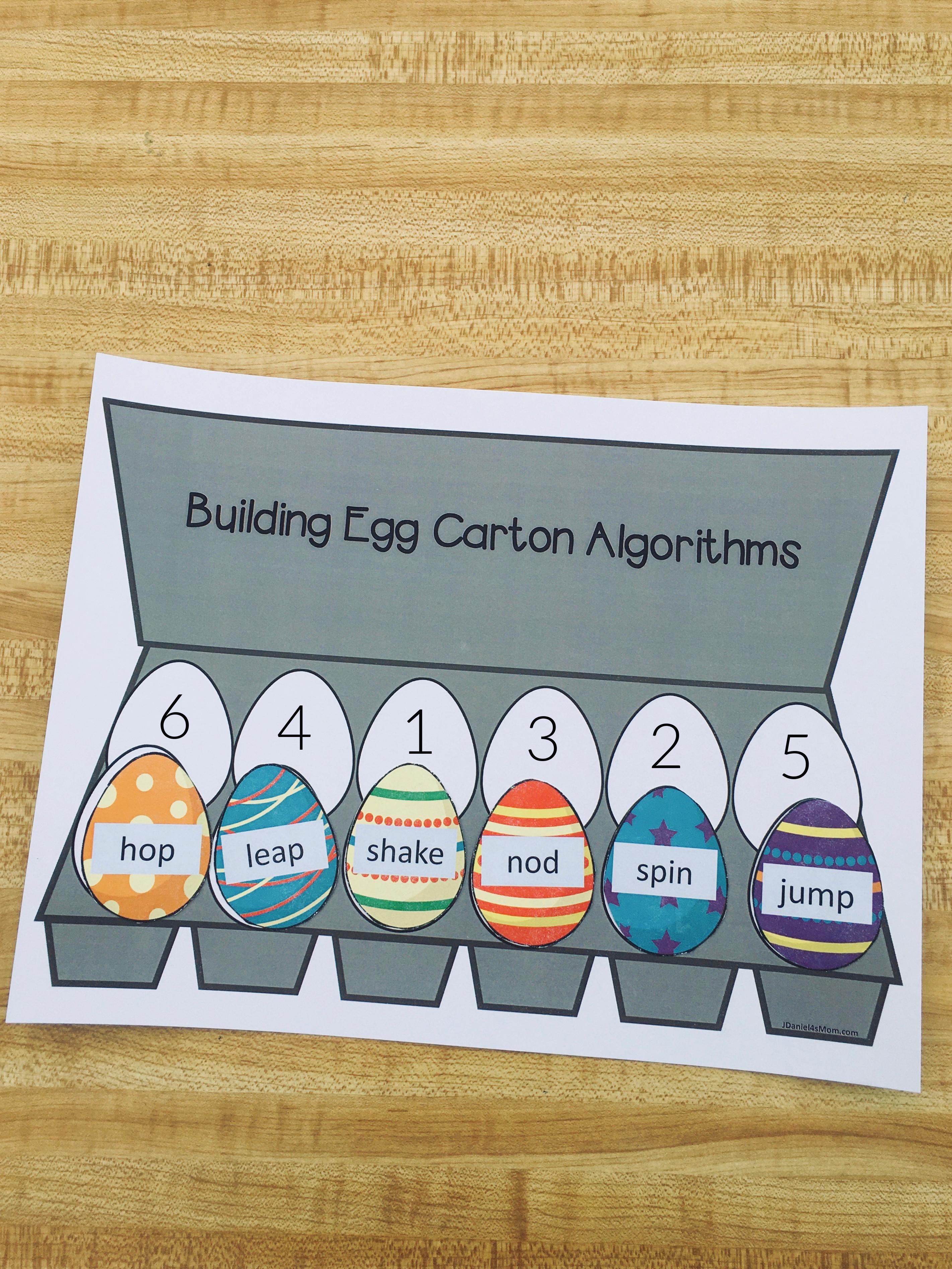 Gross Motor Building Egg Carton Algorithm Activities