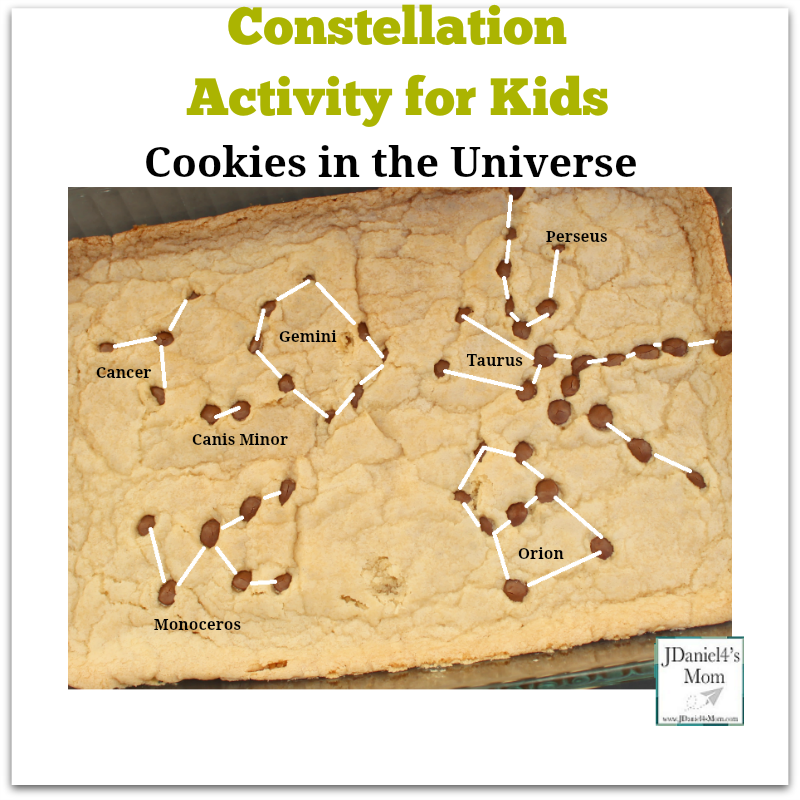-Constellation Activity for Kids Cookies in the Universe : You can recreate constellation with chips on cookie.
