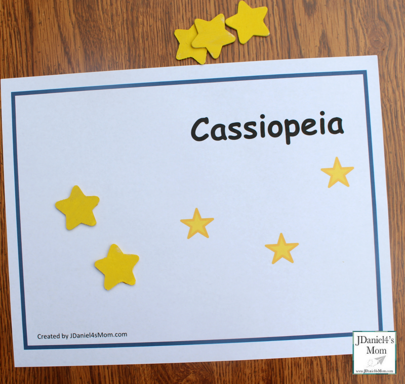 Constellations for Kids - Printable Constellation Mats- cassiopeia