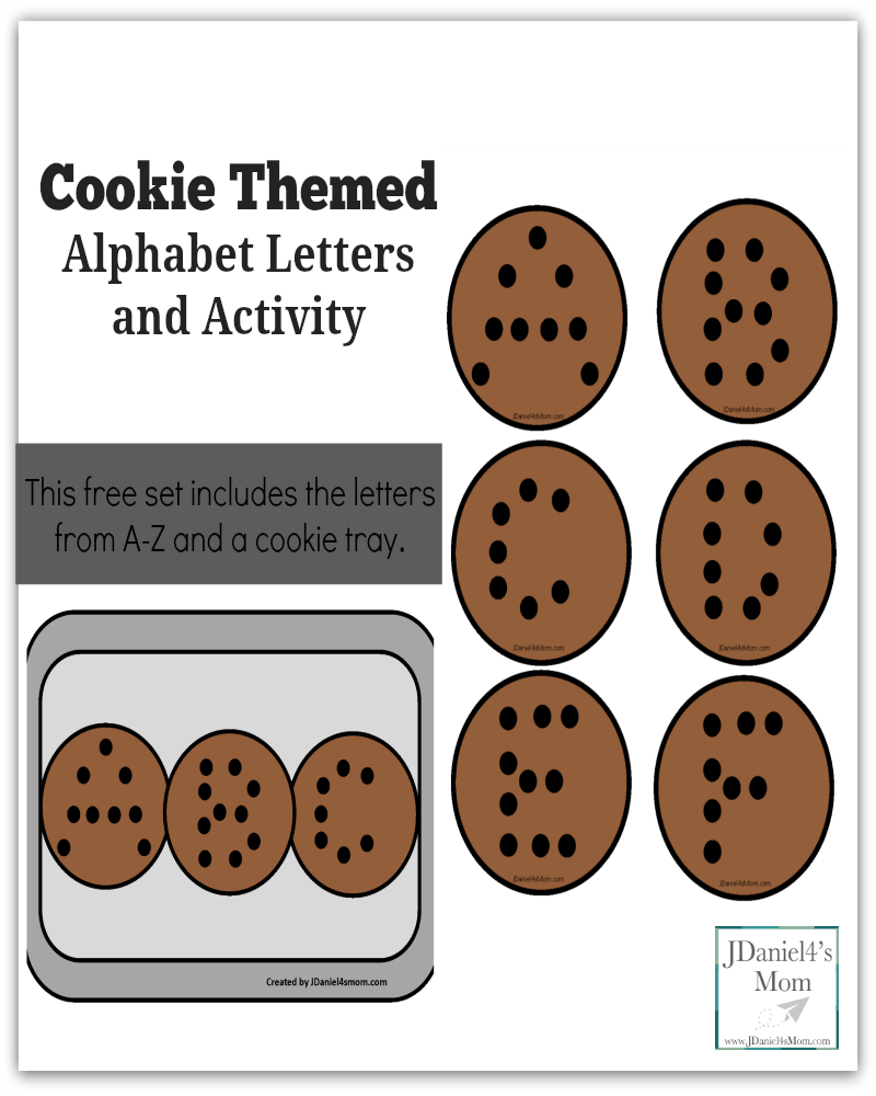 Cookie Themed Alphabet Letters and Activity - The free printable set contains the letters A-Z and a cookie sheet.