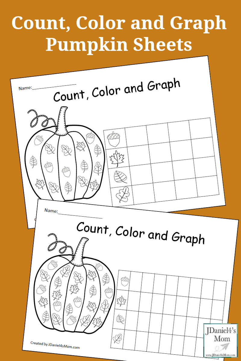 Count, Color and Graph Pumpkin Sheets- This is a set of free graphing sheets featuring fall leaves and acorns. They will be fun pumpkin math sheets to do with your children at home or students at school.
