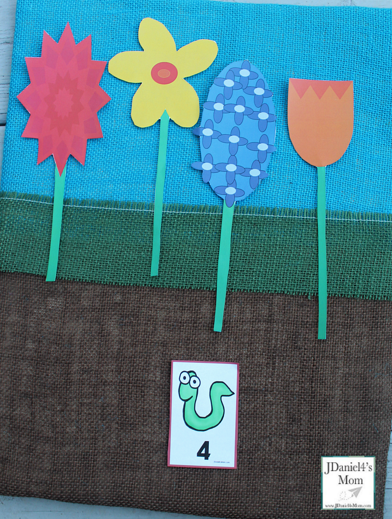 Counting Flowers and Number Worms- Four Flowers and a Worm with a Number Four