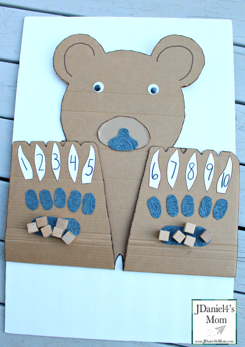 Counting On Bear Paws with Number Claws- This math learning space can be used for counting blessings, explore the number of things to be grateful for, or just working on numbers.