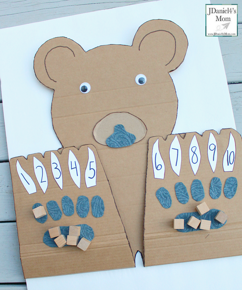 Counting On Bear Paws with Number Claws- This math learning space can be used for counting blessings, explore the number of things to be grateful for, or just working on number recognition.