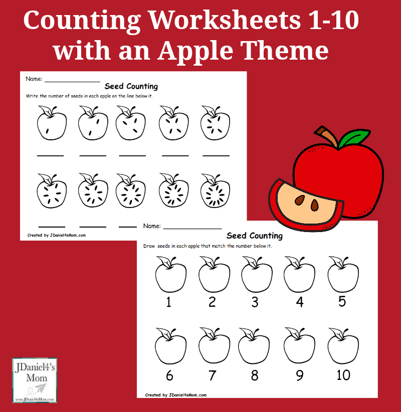 Printable Worksheets number recognition worksheets 1-10 : Worksheets 1-10 with an Apple Theme