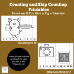 Counting and Skip Count Printables Based on If Your Give a Pig a Pancake - This is a set of pre-colored and ready to color printables.