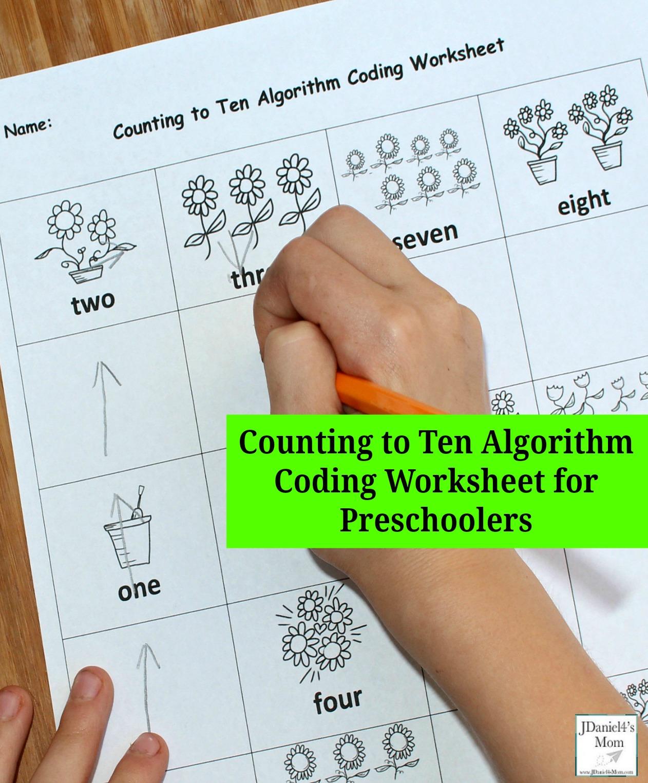 Counting to Ten Algorithm Coding Worksheet for Preschoolers