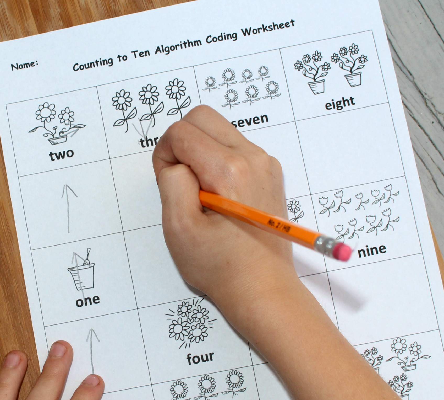 Counting to Ten Algorithm Coding Worksheet - Counting to Three