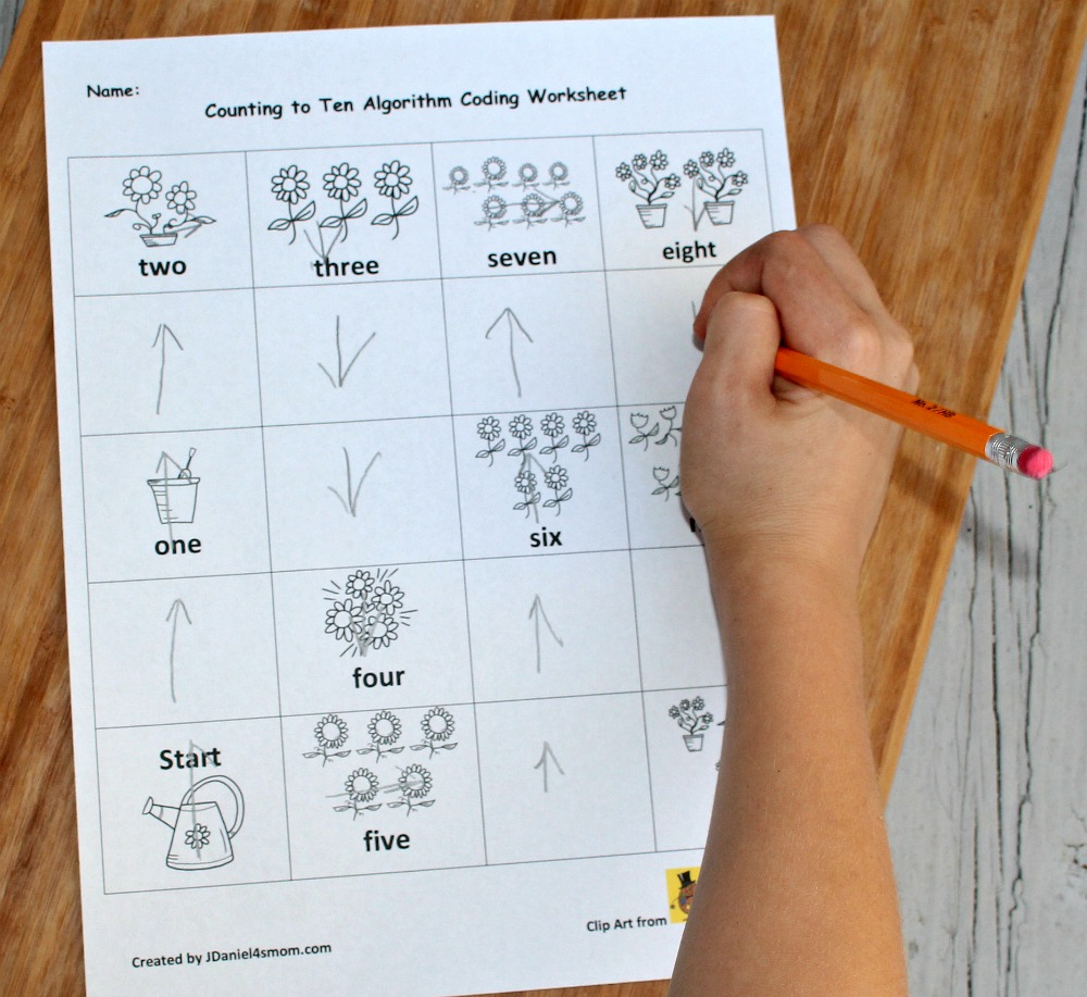 Counting to Ten Algorithm Worksheet - Finishing the Last Few Numbers