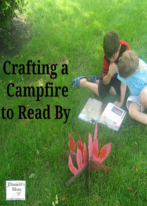 Crafting a Campfire to Read By- Painting the Fire Flames on a Cardboard Box