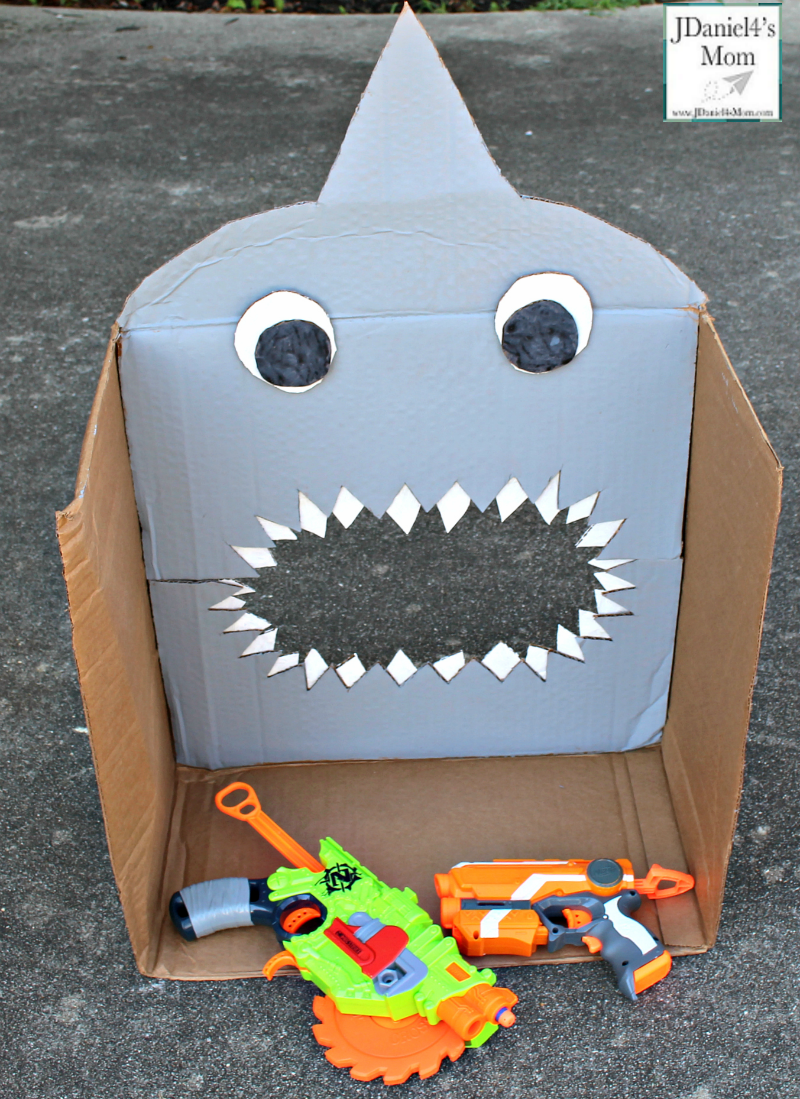 DIY Nerf Target for Shark Week with Nerf Guns