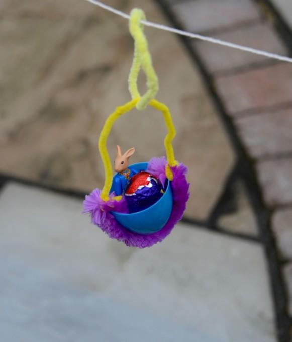 STEM Activities with Plastic Eggs - Plastic Egg Zip Line