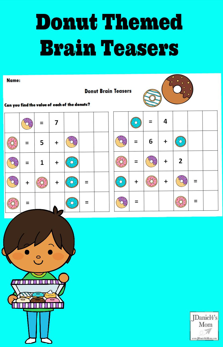 Donut Themed Math Brain Teasers