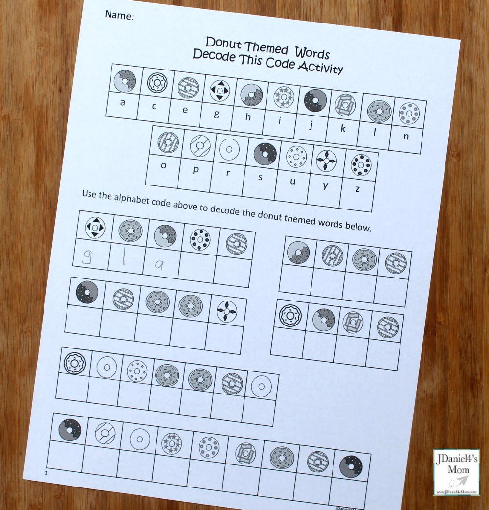 Donut Themed Words Crack The Code Activity