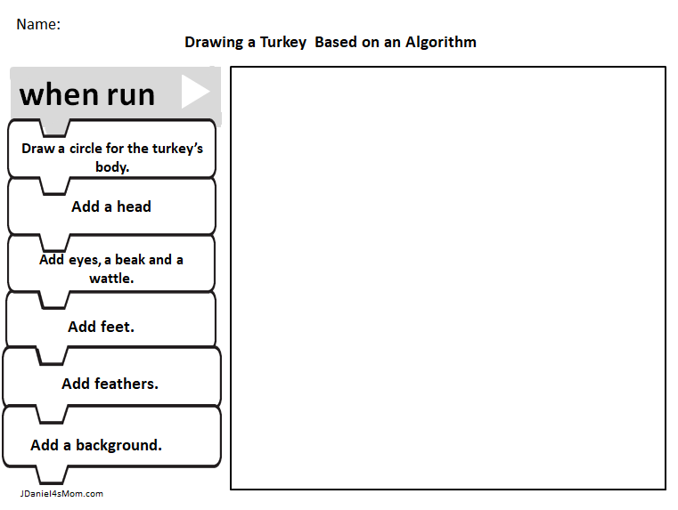 Turkey Coloring Pages And An Algorithm Activity Jdaniel4s Mom