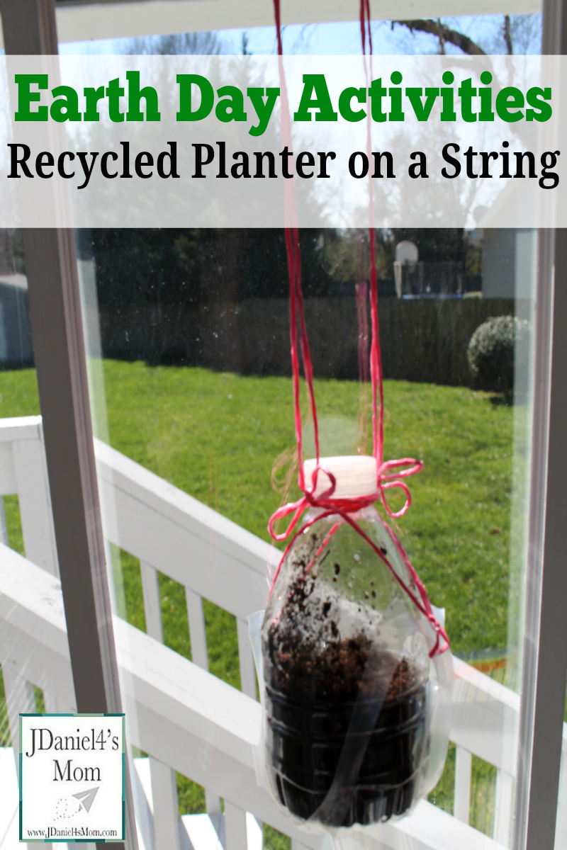 Earth Day Activities Recycled Planter on a String- This fun craft and gardening activity will be fun to create. Kids will love watching the plant inside their planter grow.