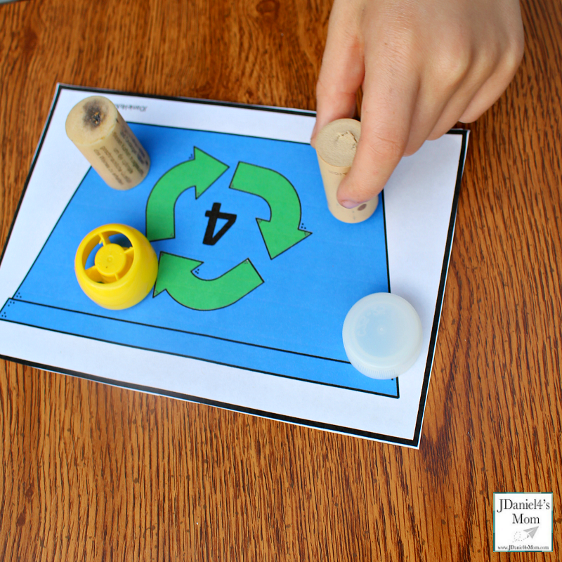 Earth Day Math Activities - Recycling Bin Counting with Printables- Exploring Four