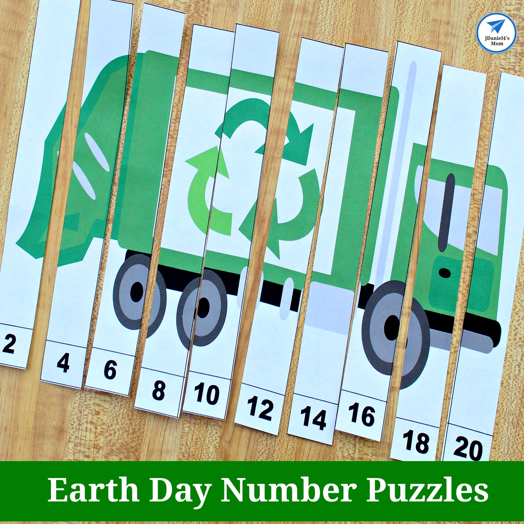 graphic about Free Printable Number Puzzles known as No cost Environment Working day Worksheets - Recycling Truck Selection Puzzles