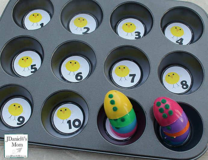 Plastic Egg Activities - Muffin Tin and Egg Number Match Eggs Stacked