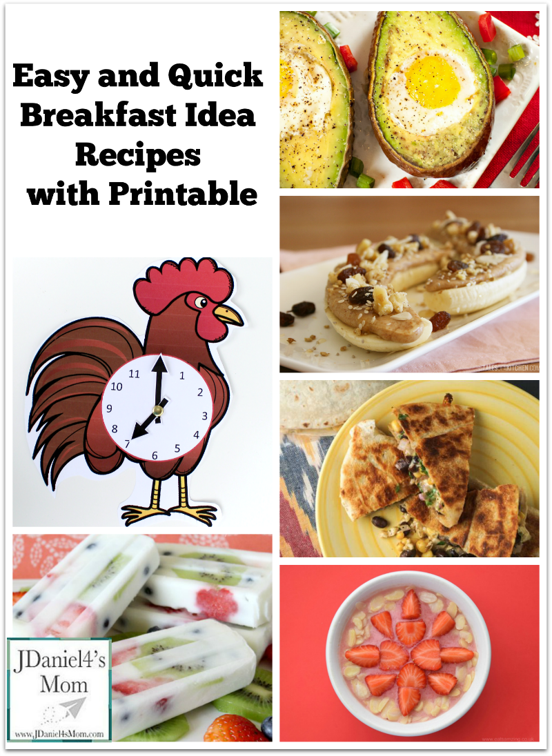Easy and Quick Breakfast Idea Recipes with Printable Rooster Clock