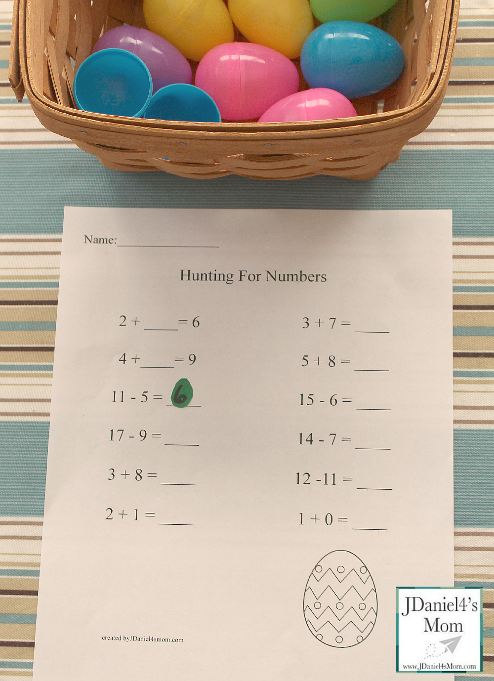 easter egg hunt for missing numbers with printable