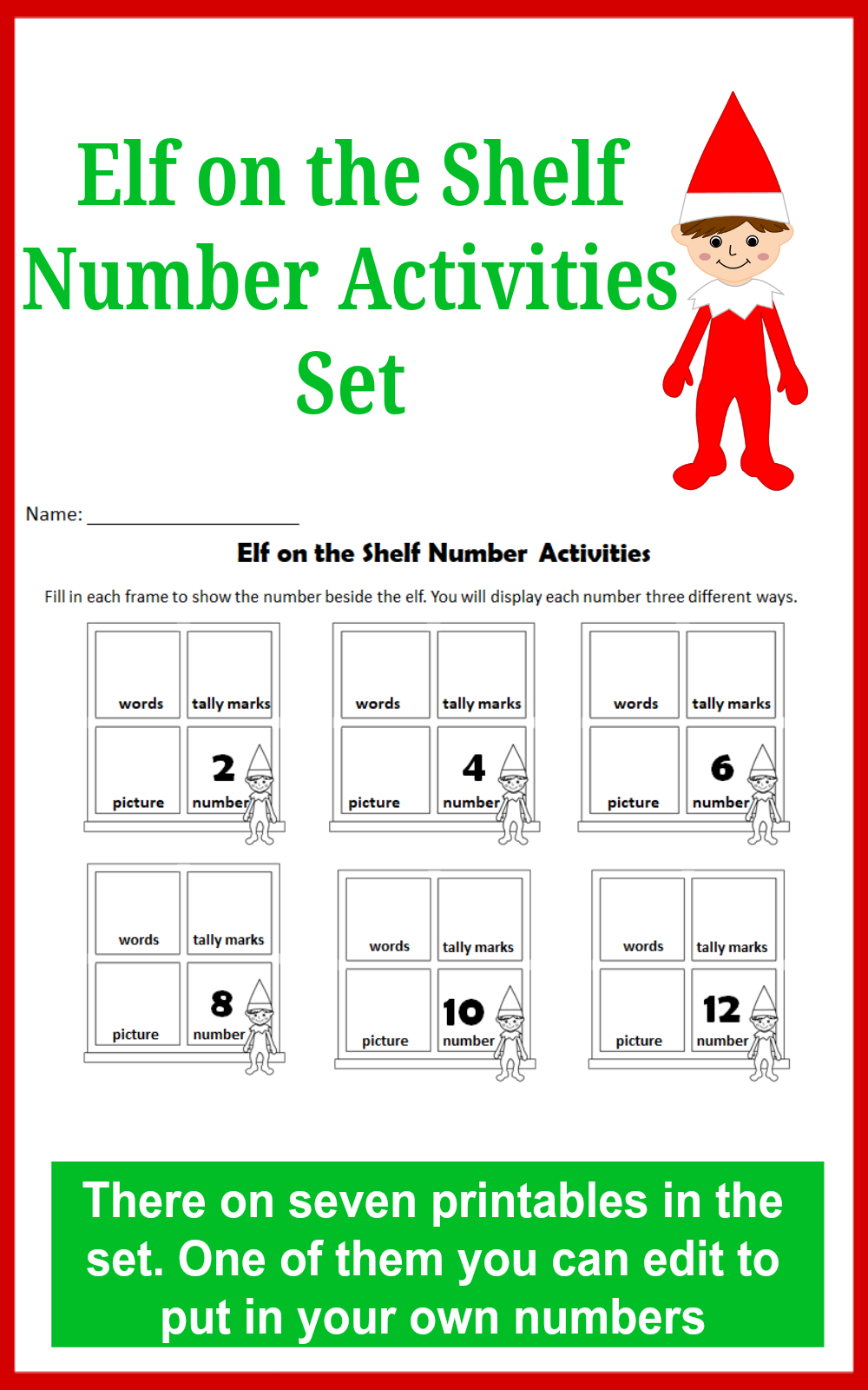 Elf on the Shelf Number Activities Set for Kids - This set explores even numbers, odd numbers, and the numbers 1-24. There is one editable printable in the set.