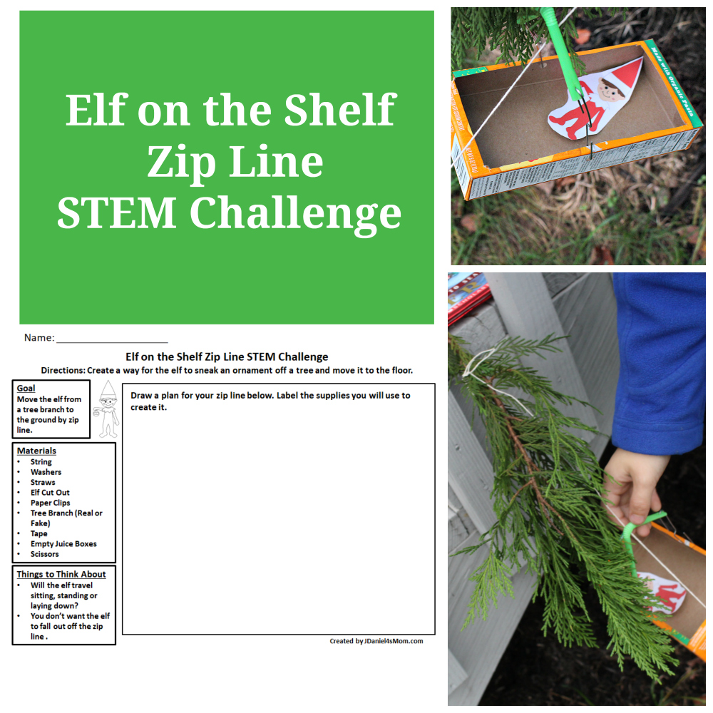 Elf on the Shelf Zip Line STEM Challenge