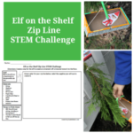 Elf on the Shelf Zip Line STEM Challenge - The elf has stolen an ornament. How will he get away from the tree with it.