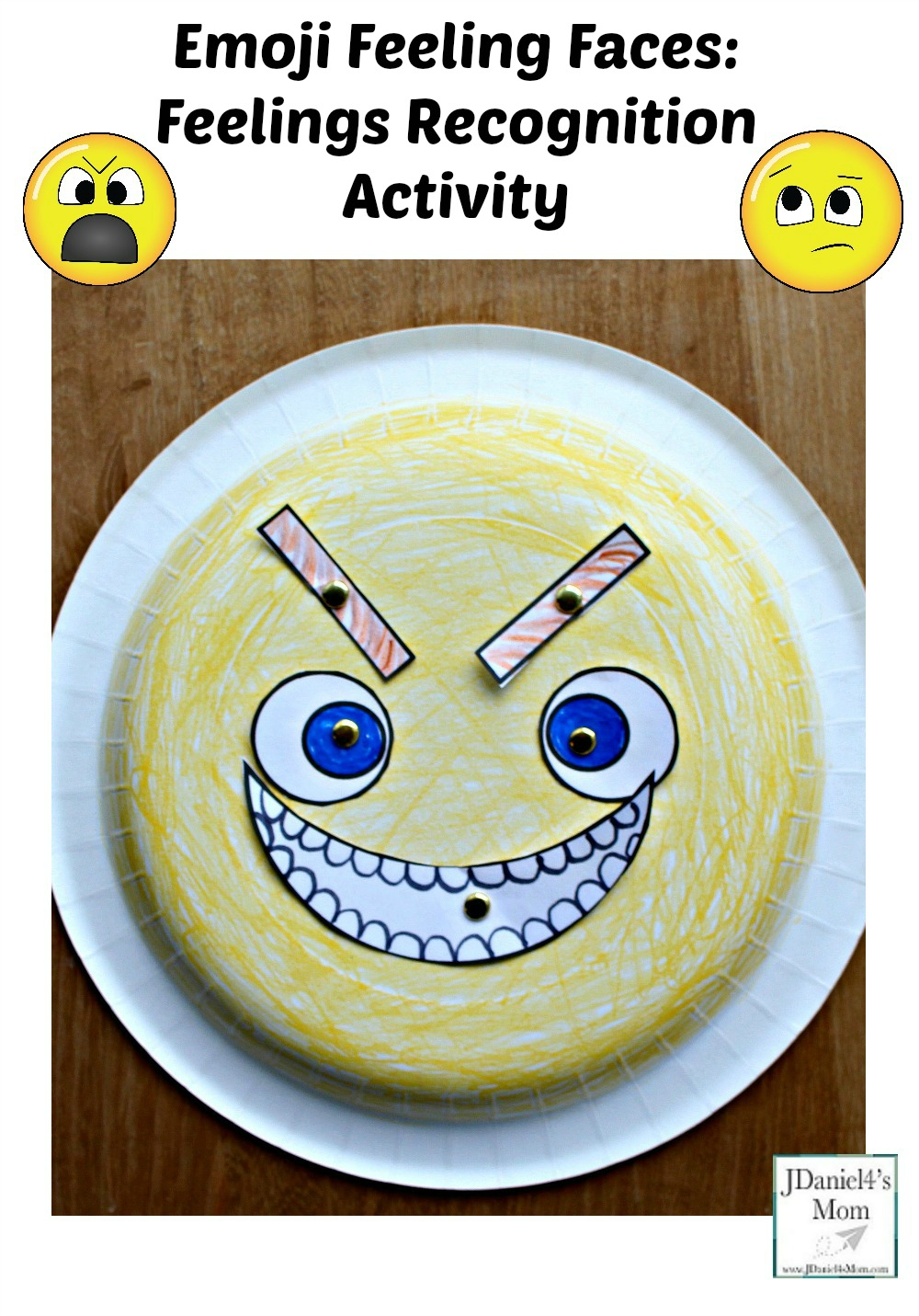 Emoji Feeling Faces Feeling Recognition Activity - The paper plate craft and activity is a fun way for children to learn and understand feelings. Children at home or students at school can learn about what each feeling looks like. Children will have fun changing the face from one feeling to anther. You can call out feelings for your children to share or they can create a face and tell you what it displays.