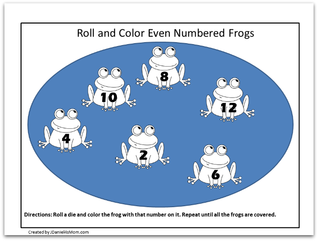Frog Coloring Pages and Learning Activities- Life Cycle of a Frog Coloring Page- Roll and Color Even Numbered Frogs