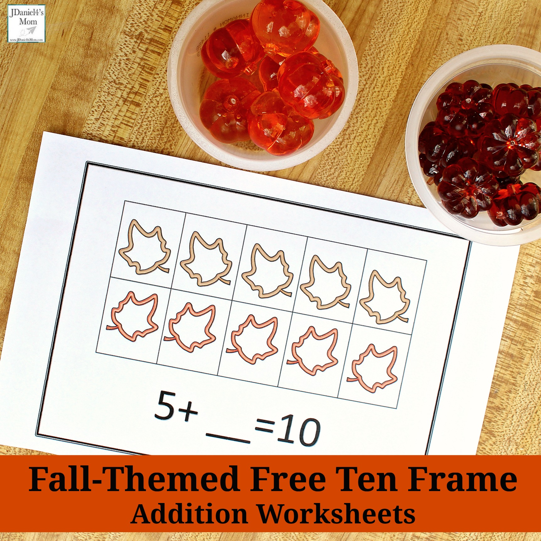 Fall themed free ten frame addition worksheets for Detached addition